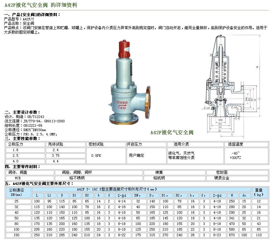 a42f-a42f液化石油气安全阀图片