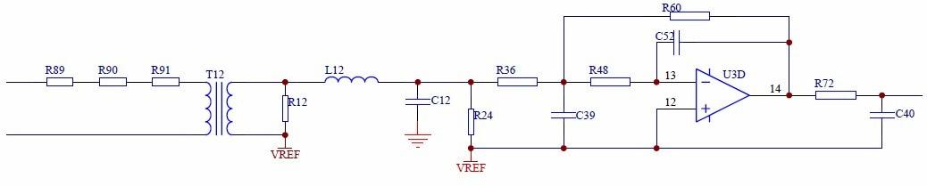 信号采集电路采用互感器隔离输入