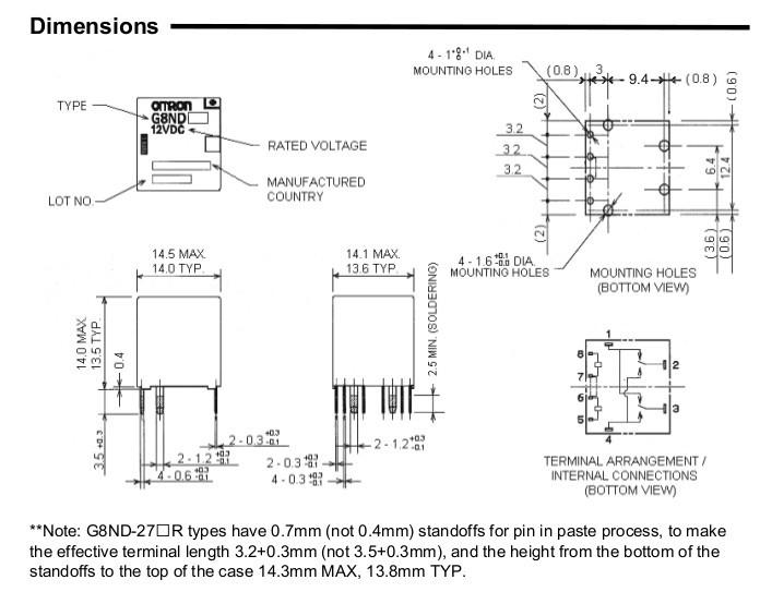 omron/欧姆龙g8nd-2 12vdc车载继电器