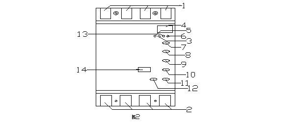 1,n,a,b,c输入端子   2,n,a,b,c输出端子   3,漏电指示灯 4,led电流表