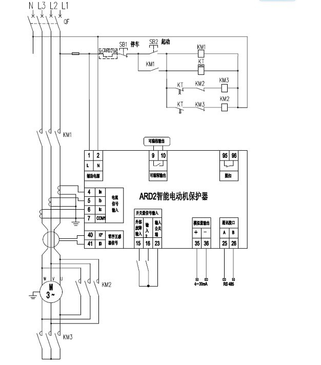 Y-起动模式:图中电动机的起动、停车是通过现场按钮来控制的(保护器本身不控制电动机起、停),接触器KM1的吸引线圈串进脱扣继电器的常闭触点中,通电后,按下SB2(起动按钮),KM1、KM3吸引线圈得电,使KM1、KM3的自锁触点闭合,电动机进行Y型起动;延时时间一到则时间继电器KT动作,使KM3吸引线圈失电,KM2吸引线圈得电,使电动机转入正常运行模式。当按下SB1(停车),KM1吸引线圈失电,使KM1自锁触点释放,电动机停车。 注:远程起动必须要由上位机来控制,保护器本身不控制。